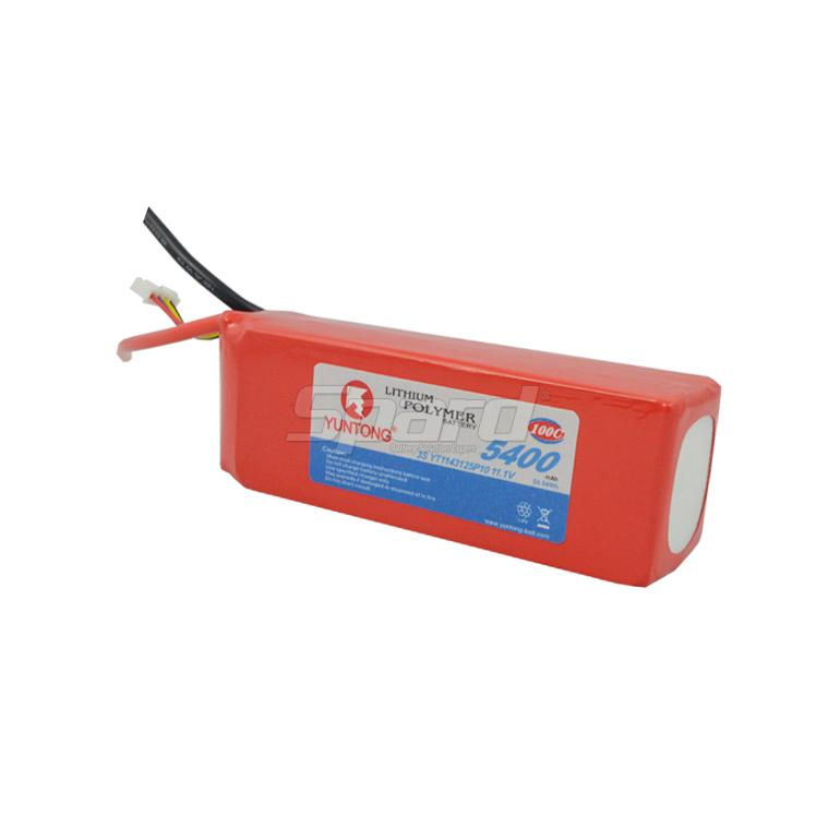 RC airplane lithium polymer battery pack 3S 11.1V 5400mAh 100C YT1143125P10