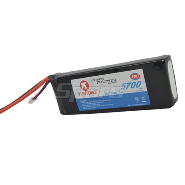 Airsoft gun battery lithium polymer battery YT50007 7.4V 5700mAh 50C