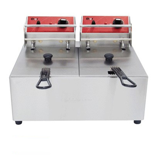 Singles and Double Tank Electric Fryer Commerical Stainless Steel Desktop Type