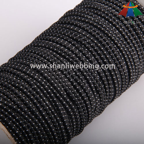 3mm Black White Polyester Striped Elastic Cord