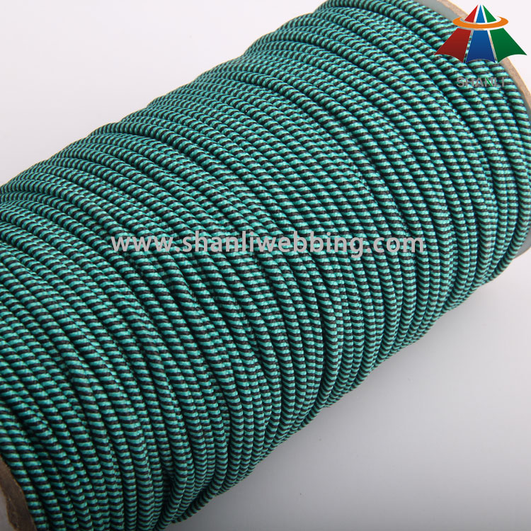 3mm Black Green Polyester Striped Elastic Rope