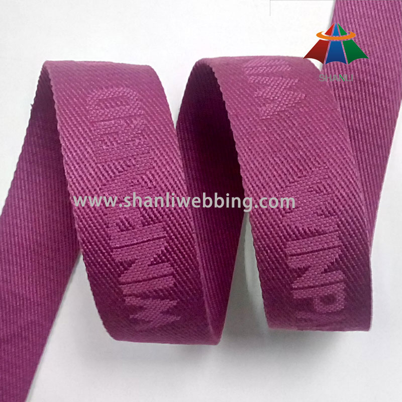 Wine Red Jacquard Polyester Cotton Webbing