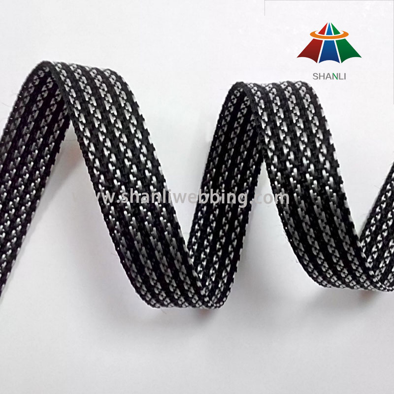 18mm Black White Striped Polypropylene Webbing