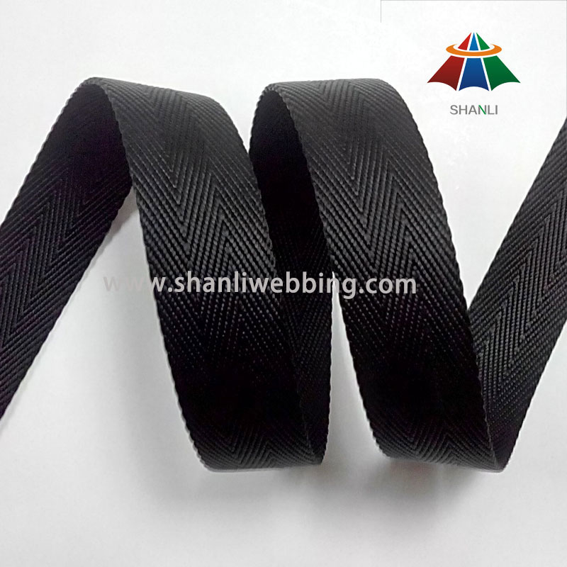25mm Black 3 Twill Twisted Nylon Webbing