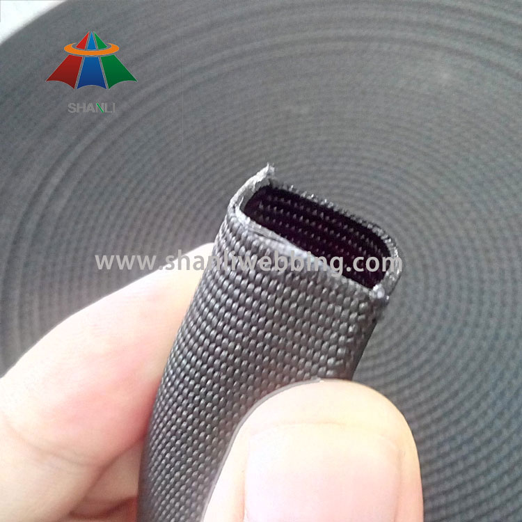 1 Inch Black Tubular Flat Nylon Webbing