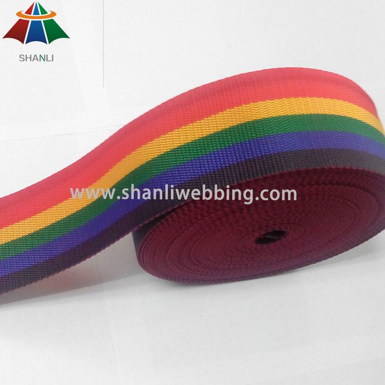 6cm Polypropylene Striped Rainbow Webbing