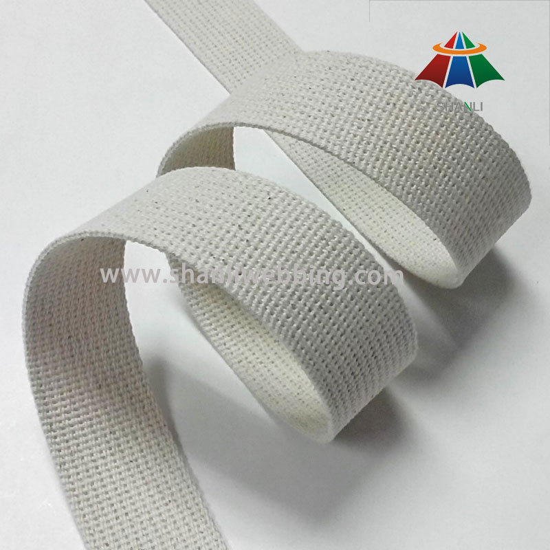 38mm White Grooved Cotton Webbing Straps