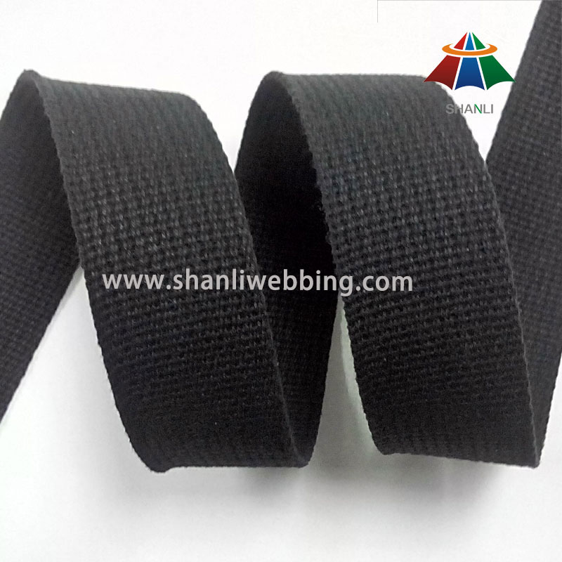 38mm Black Grooved Pure Cotton Webbing