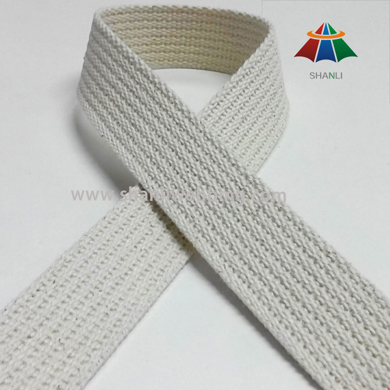 1 Inch White Grooved Cotton Webbing Tape