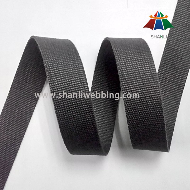 25mm Grey-Black Flat Cotton Webbing