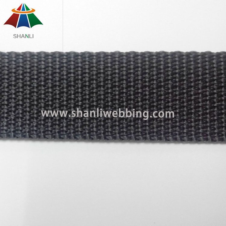 22mm Black Flat PP Webbing