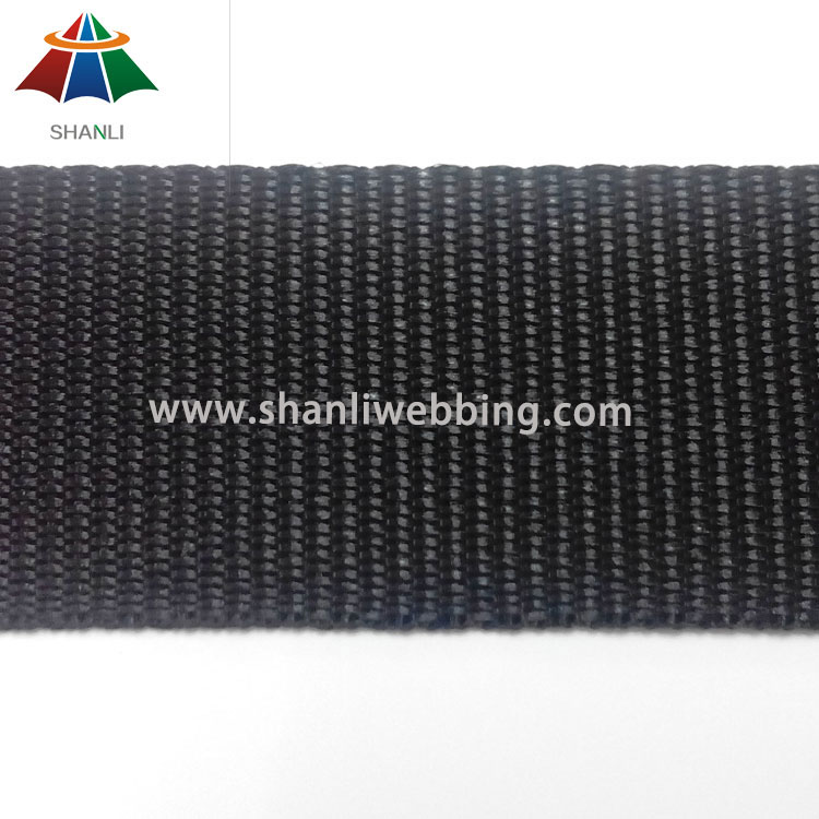 37mm Plain Weave Black Polypropylene Webbing