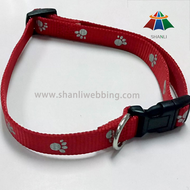 With Dog Footprints Pattern Nylon Dog Collar