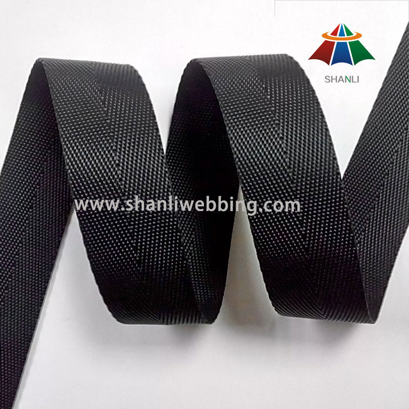22mm Black Nylon Tape Webbing, Hurringbone Nylon Webbing Tape