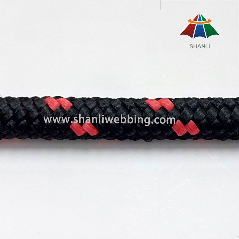 Custom 8mm Red and Black Striped PP Rope