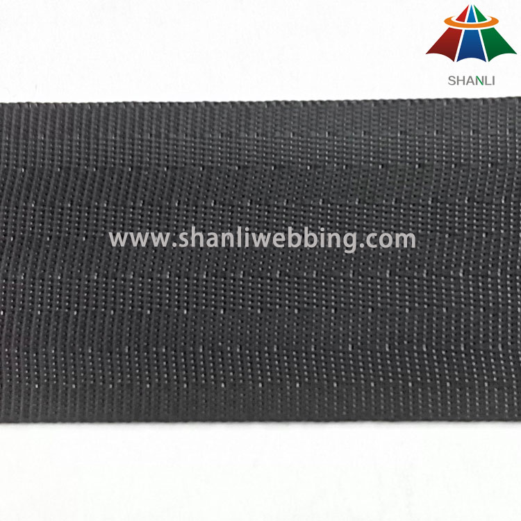 40mm Black High Tenacity Polyester Webbing for Seat Belt   Black Seat Belt Webbing
