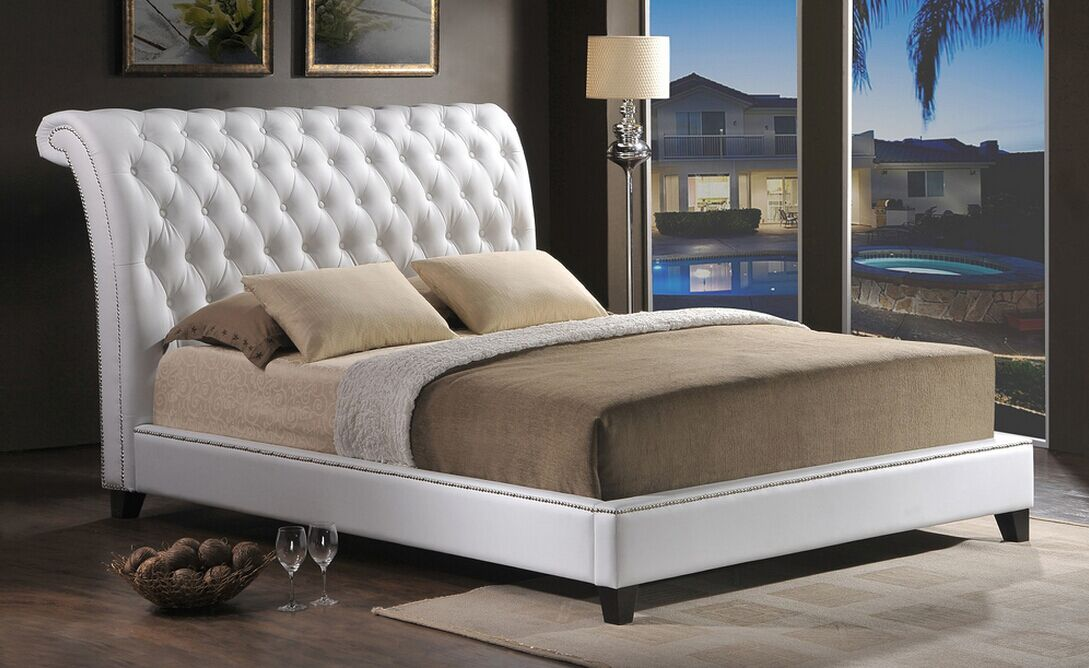 Tufted Leather Bed with Upholstered Headboard L. Ab08