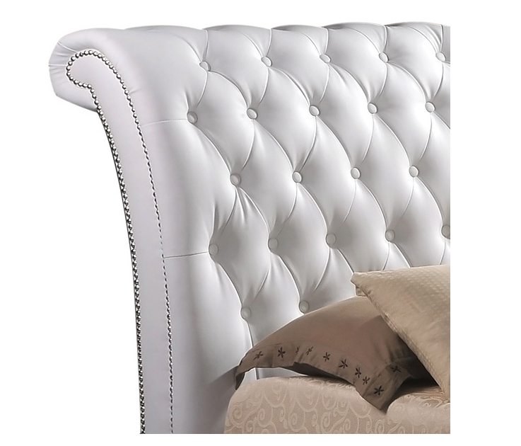 Tufted Leather Bed with Upholstered Headboard L. Ab08   Tufted Leather Bed with Upholstered Headboard
