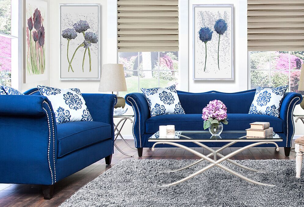 Blue Sofa Set Fabric Sofa Set L.A07