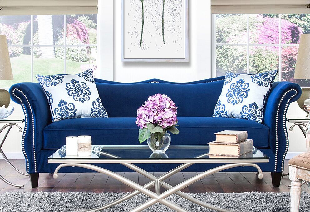 Blue Sofa Set Fabric Sofa Set L.A07   Blue Sofa Set Fabric Sofa Set