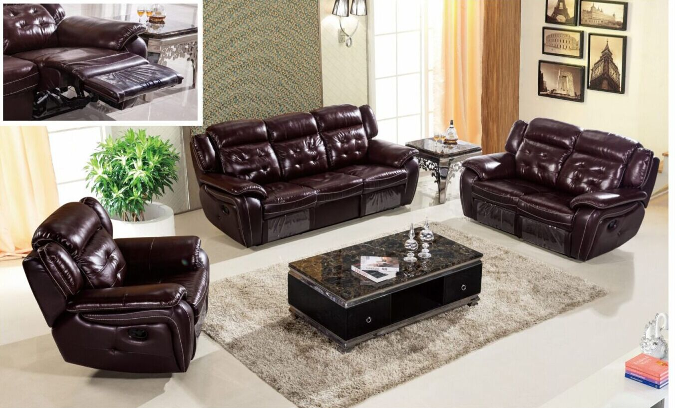 Brown Leather Recliner Sofa L. Mg530