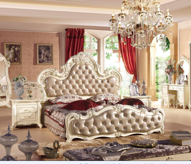 Royal Style Leather Button Tufted King Size Bed Jh916