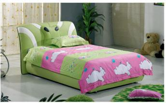 Green Leather Children Bed Frame