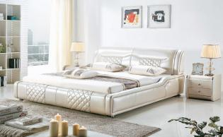 Serene Anzio White Italian Leather Bedstead L. H8337