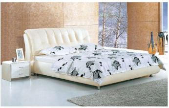 White Leather Bed L. P8225
