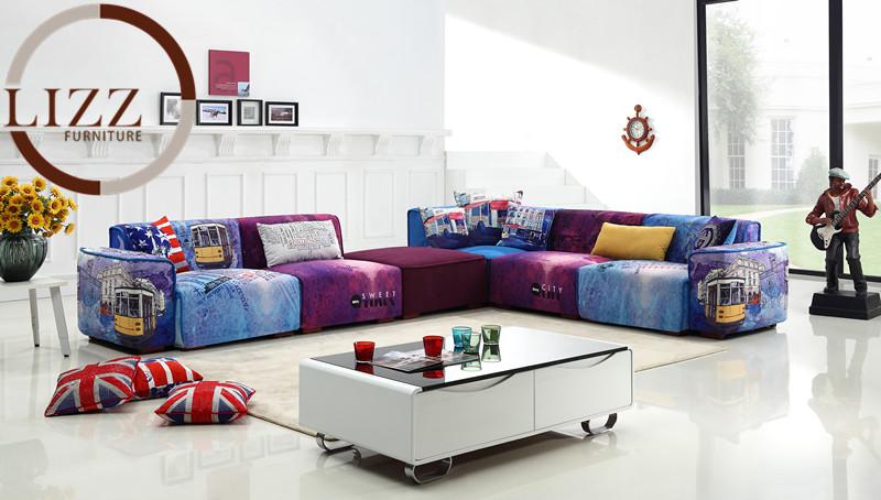 U. K. Modern Sectional Fabric Sofa (Gd-09)