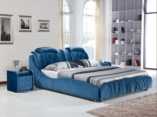 King Size Bedroom Modern Fabric Bed 818