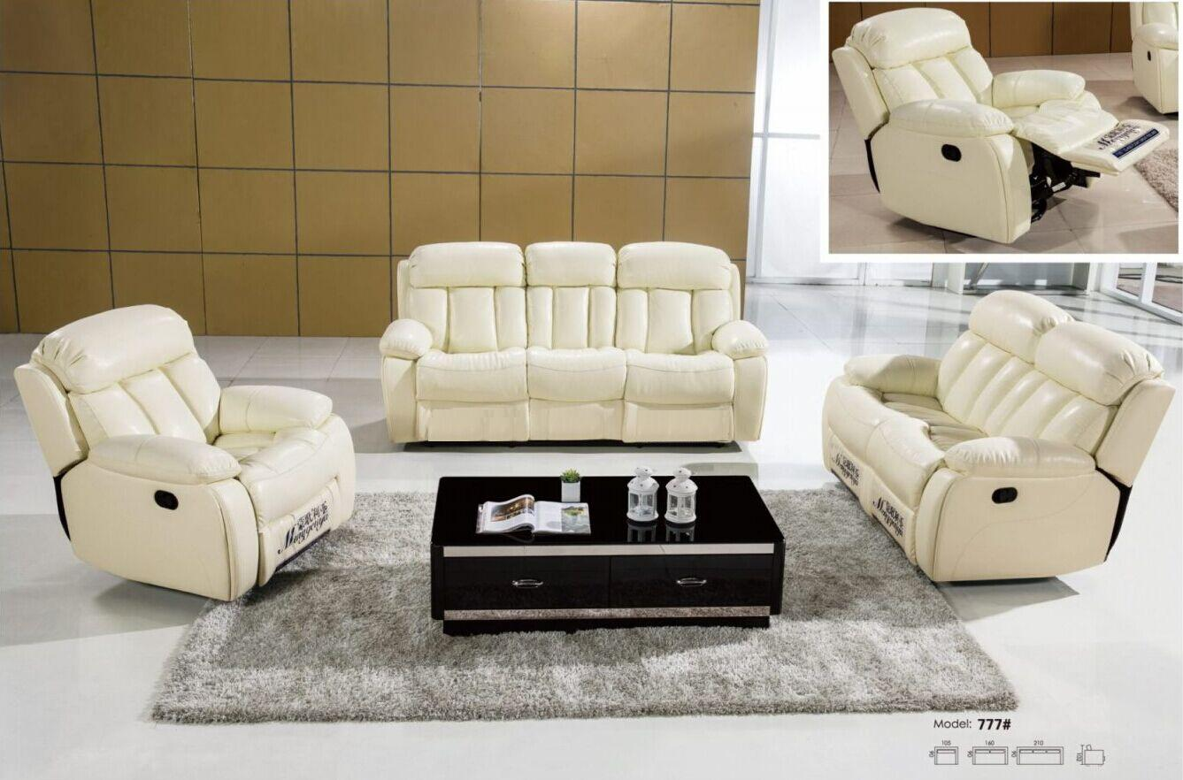 White Recliner Leather Sofa L.MG777