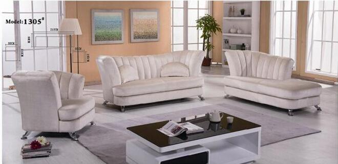 Classic Wooden Leather Sofa Set (L. P. 1305)