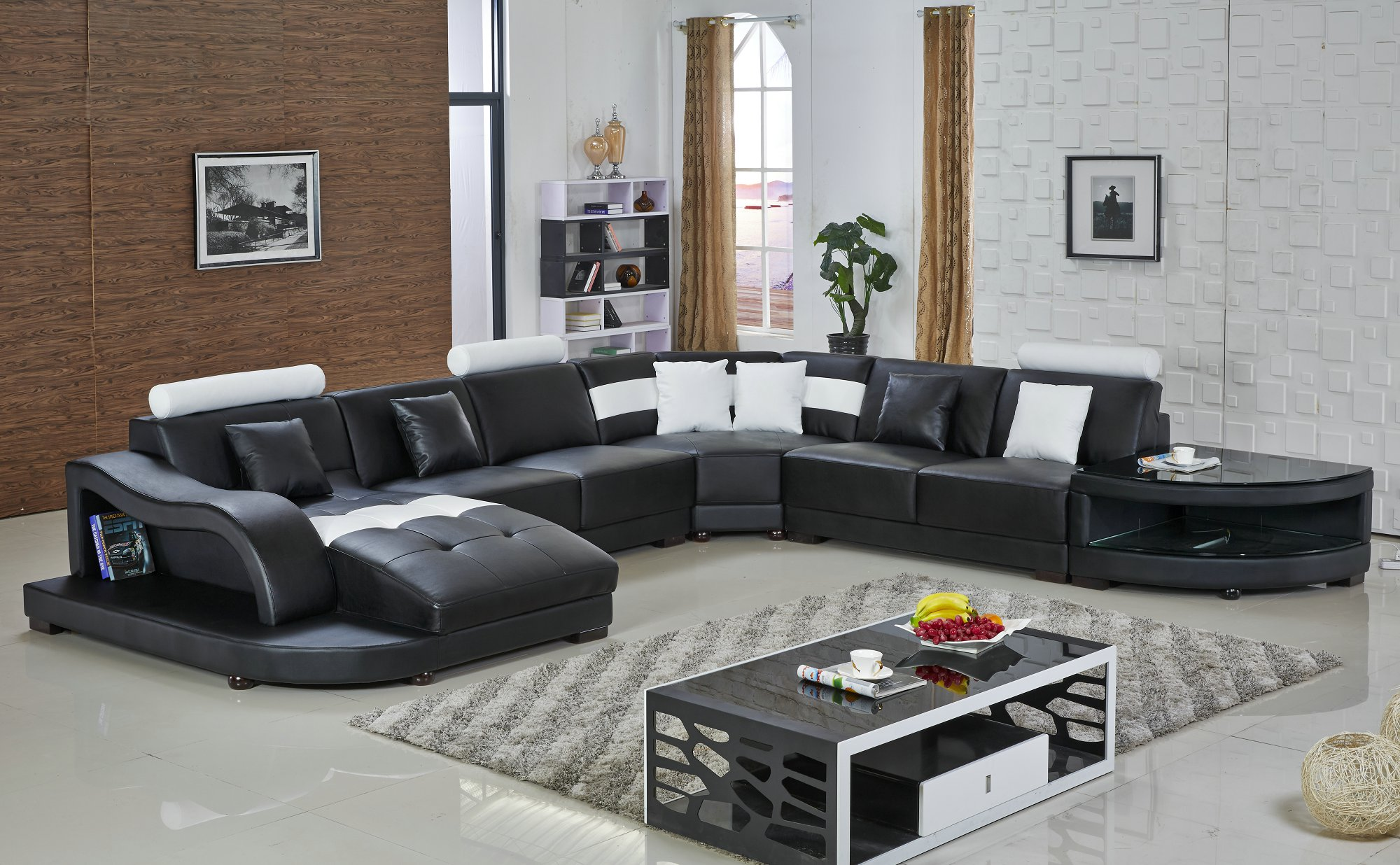 U.K. Home Living Room Furniture Leather Sofa H2217