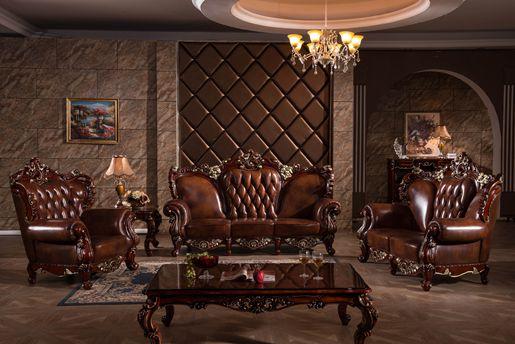 Top Genuine Leather Brown Living Room Sofa Y1518