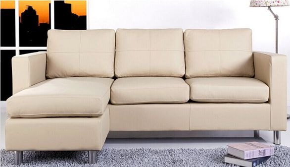 Cream Leather Sofa Sectional (L. A15)