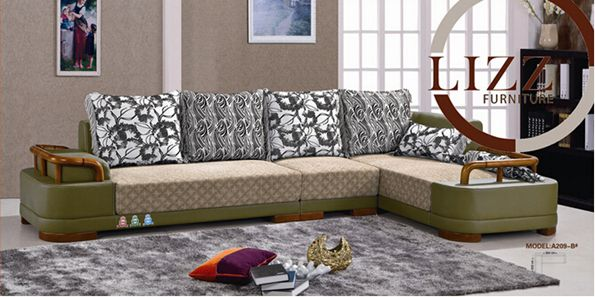 African Livng Room Leather and Fabric Sofa (A209b)