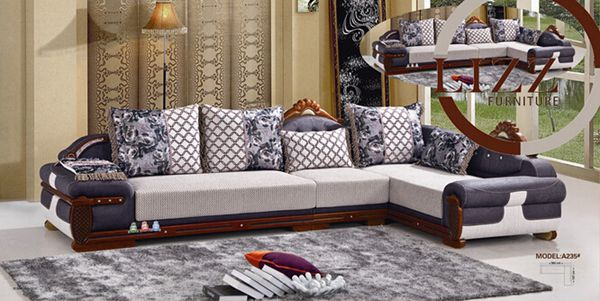 African Home Fabric and Leather Sofa (A235)