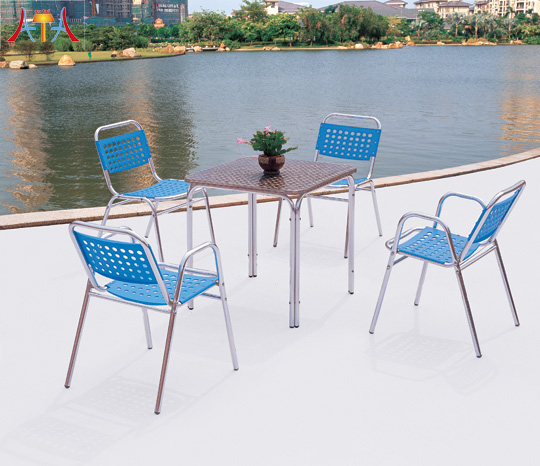 Outdoor Cast Aluminum Square Dining Furniture Set  AT-8024