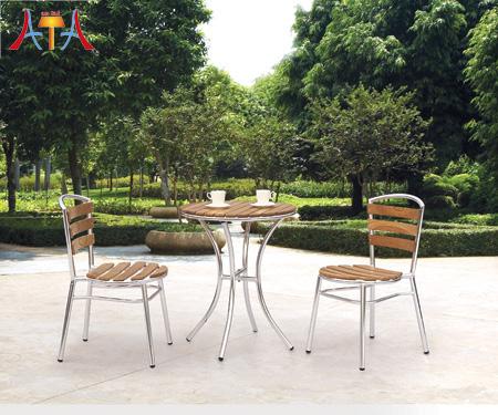 Patio Cast Aluminum Antique Wooden Outdoor Furniture AT-8017