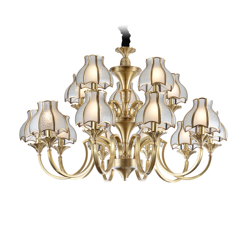 american style gold brass chandeliers large for big lobby EME LIGHTING